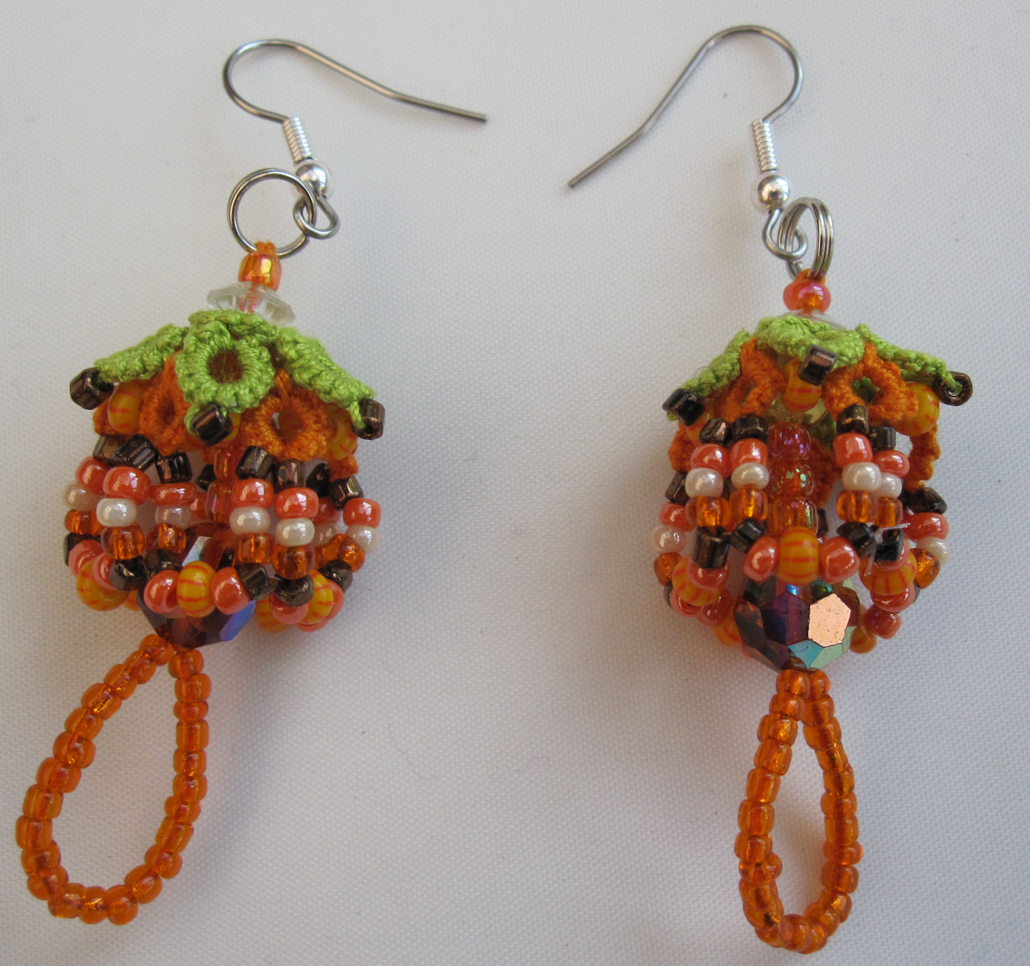 beaded tatted earring by Jane Eborall 2017 used for brooch also